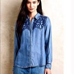 Anthropologie Holding Horses MED Embroidered Jean